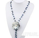 Elegant Y Shape Sodalite Chips And Gray Shell White Pearl Flower Pendant Necklace