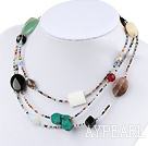Popular Multi Mixed Turquoise Agate Shell Tiger Eye Jade Necklace, Sweater Necklace