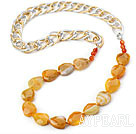 Wholesale Yellow Color Burst Pattern Crystallized Agate Knotted Necklace with Golden and Silver Color Metal Chain ( The Chain Can Be Deducted )