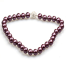 Fashion Single Strand 12Mm Purple Round Seashell Beads Necklace With Rhinestone Magnetic Clasp