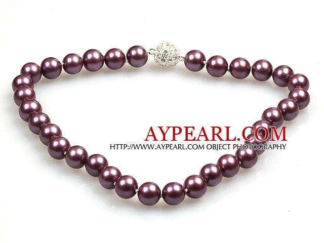 Fashion Single Strand 12Mm Purple Round Seashell Beads Necklace With Rhinestone Magnetic Clasp