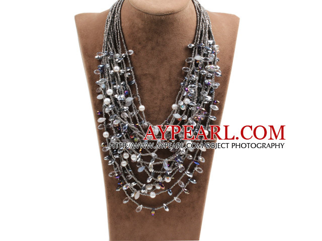Gorgeous Multi Layer Gray Series Natural Freshwater Pearl Crystal Party Necklace