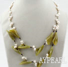 Wholesale White Freshwater Pearl and Olive Flower Necklace
