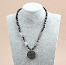 Wholesale Dyed Black Freshwater Pearl And Caky Shape Tibet Silver Charm Necklace
