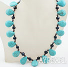 Wholesale New Design Drop Shape Turquoise and Freshwater Necklace with Moonlight Clasp
