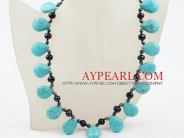 New Design Drop Shape Turquoise and Freshwater Necklace with Moonlight Clasp
