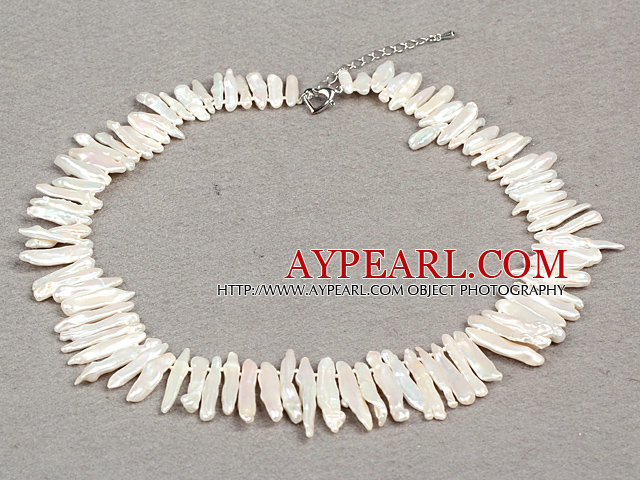 Gorgeous Party Style Natural White Teeth Shape Rebirth Pearl Necklace with Heart Clasp