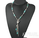 Blue jade and black agate necklace