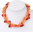 Elegant Double Color Chips Coral Strand Necklace With Moonight Clasp