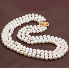 Three Strands 8-9mm White Freshwater Pearl Beaded Necklace