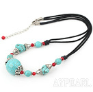 Nice Blue Turquoise And Red Bloodstone Cap Metal Charm Necklace With Knotted Black Cord