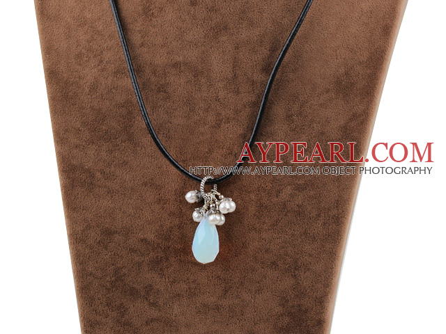white pearl and drop shaped moonstone necklace with lobster clasp