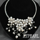 Natural White Freshwater Pearl and Clear Crystal Flower Bib Necklace ( No Clasp )