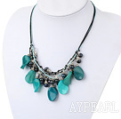 Wholesale black pearl blue jade necklace