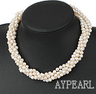 Wholesale multi strand twisted white pearl necklace