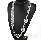 Elegant 3-Strand White Freshwater Pearl Crystal And Hollow Disc Shell Necklace