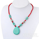 Beautiful Rice Shape Red Coral And Disc Large Nut Shape Blue Turquoise Pendant Necklace