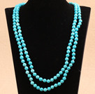 Elegant Long Style 10Mm Round Turquoise Beaded Strand Necklace