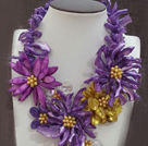 Amazing Beautiful Purple -sarjan Purple Yellow Pearl Shell kukka Statement Party kaulakoru