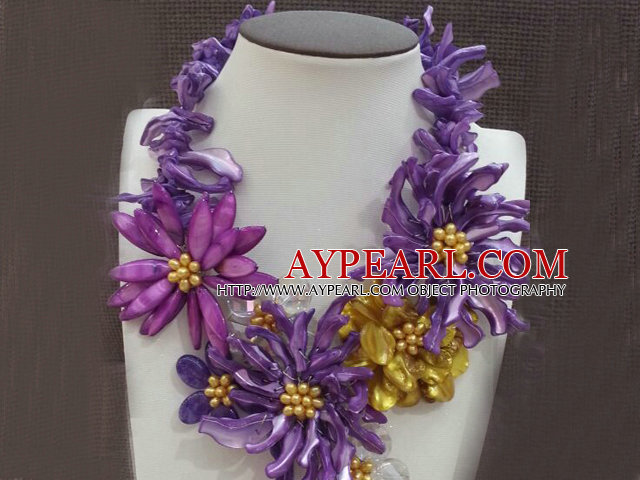 Amazing Beautiful Purple Series Purple Yellow Pearl Shell Flower Statement Party Necklace