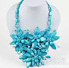 Lake Blue seires Big Style Lake Blue Süßwasser-Zuchtperlen und Shell Flower Party Halskette