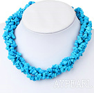 Long Style Blue Turquoise Chips Necklace