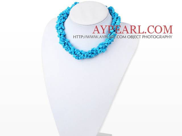 Nice Multi Function Long Style Blue Turquoise Chips Strands Necklace