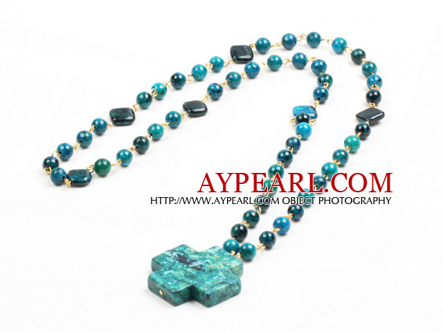 Classic Design Phoenix Stone Beads Cross Pendant Necklace