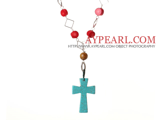 Fashion Style Red Coral Cross Shape Green Turquoise Pendant Necklace