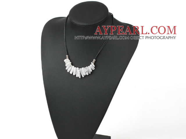 Lovely Teeth Shape Howlite White Turquoise Necklace With Black Cord
