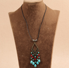 Simple Vintage Style Chandelier Shape Turquoise Red Coral Beads Tassel Pendant Necklace With Black Leather