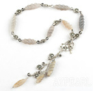 Wholesale Engraved grey agate necklace