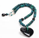 Wholesale Vintage Style Abacus Shape Phoenix Stone Heart Shape Black Agate Pendant Necklace