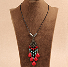 Simple Vintage Style Chandelier Shape Turquoise Tear Drop Coral Beads Tassel Pendant Necklace With Black Leather