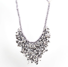 Sparkly Bib Shape Gray Series Water Drop Shape Crystal Statement Party Necklace With Gray Thread Woven Drawstring Chain