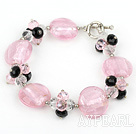 Wholesale pink crystal and colored glaze bracelet with toggle clasp