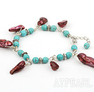Wholesale turquoise and pearl bracelet with lobster clasp