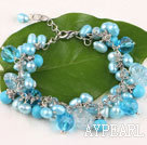 Wholesale Fancy blue freshwater pearl crystal and turquoise bracelet with lobster clasp