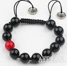 7.1 inches 10mm black agate and blood stone bracet