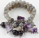 Wholesale Multi Strand Flashing Stone and Amethyst Elstic Bangle Bracelet