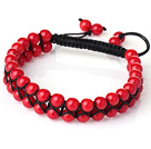 Fashion Style Two Rows Round Red Coral Weaved Adjustable Drawstring Bracelet