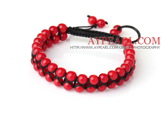 Fashion Style Two Rows Round Red Coral Woven Adjustable Drawstring Bracelet