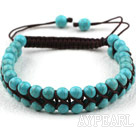 Fashion Style Two Rows Round Turquoise Weaved Adjustable Drawstring Bracelet