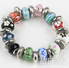 Fashion style multi color colored glaze and tibet silver accessories elastic bangle bracelet