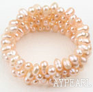 Wholesale Natural Pink Freshwater Pearl Wrap Bangle Bracelet