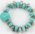 Wholesale Elastic assorted square and drum shape turquoise bangle bracelet