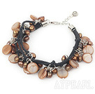 Wholesale dyed brown pearl shell bracelet with lobster clasp