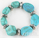 Wholesale Chunky style elasic assorted multi shape turquoise bangle bracelet