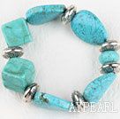 Stretch chunky style assorted multi shape turquoise bangle bracelet
