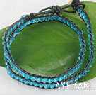 Wholesale Blue manmade crystal leather thread wrap bracelet